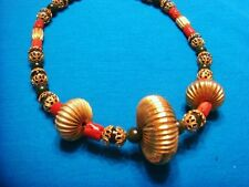 Vintage Asian Chinese Red Coral Jade Gold tone Rondelle bead necklace
