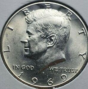 1969 D Kennedy Half dollar 50 cents Silver coin Uncirculated