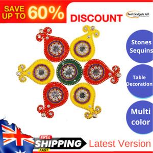 Diwali Rangoli Indian Kalash Rangoli Floor Table Decoration 7 Pieces Red&Yellow
