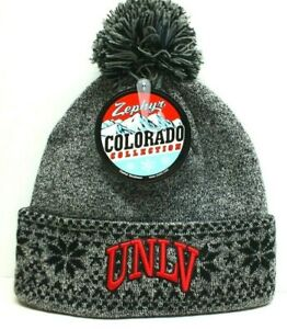 UNLV REBELS NCAA Knit Beanie Hat Winter Holiday Cuffed Pom New SAME DAY SHIP