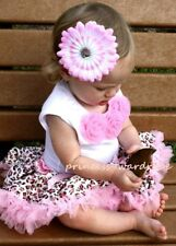 Pink Leopard Pettiskirt with Pink Rosette Top Set 3-12M