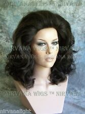 BLACK Lots of Volume Med Length Drag Queen Mens Womens Wig