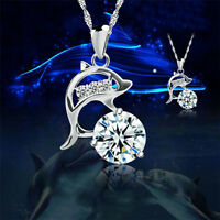 Womens Jumping Dolphins Silver Rhinestone Pendant Necklace Fashion Jewelry Gift