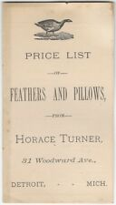 1884 Detroit Michigan Feather & Pillow Dealer Price Brochure