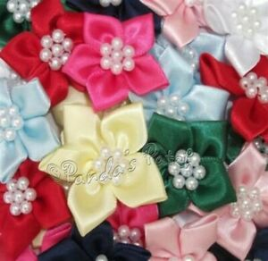 Satin Ribbon Poinsettia Flowers with Pearl Beads, Choose Colour/Pk Size Free P&P
