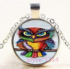 Colorful OWL Cabochon Silver/Bronze/Black/Gold Glass Chain Pendant Necklace#7166
