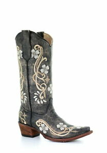 Corral Circle G Womens Western Cowboy Boots Leather Floral Stitch Snip Toe Black