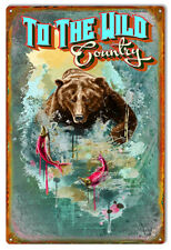 Vintage Antique Style Metal Sign Wild Country Bear 12x18