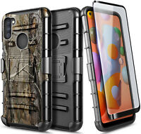 For Samsung Galaxy A11 Case, Belt Clip Holster Phone Cover with Tempered Glass