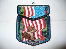 OA Mascoutens Lodge 8, 2010 BSA Jamboree,2, Two Part Set, US Flag,BLK Bdr,636,WI