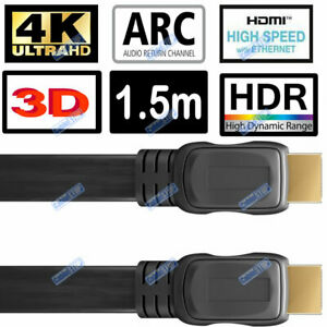 1.5 METRE 4K ULTRA HD FLAT HDMI LEAD HDR HEC ARC 2160p TV UNDER CARPET CABLE