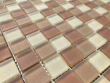 Glas Mosaik Fliese Platte beige Mix satiniert 8mm dick 32,2 x 32,2 x 0,8cm