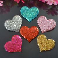 Multipurpose Glitter Resin Cabochons 31x36mm Heart Shaped Craft Decoration 8 pcs