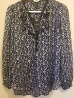 Lucky Brand Women's Long Sleeve Floral - Navy Blue/White Shirt- Size Small - NWT