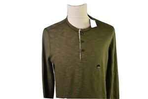 Abercrombie Fitch 3 button  Henley shirt  size large men NWT green pit to pit 21