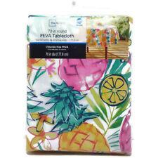 "Tablecloth Mainstays Peva Vinyl 70"" Round Pineapple Kitchen Patio Porch Picnic"