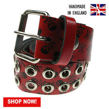 "38mm Eyelet Studded Printed Real Leather Belt Made In England Sizes 28""-44"""