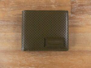 $440 BOTTEGA VENETA mustard green perforated leather wallet authentic - NWT