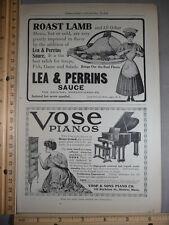 Rare Original VTG 1908 Lea & Perrins Vose Pianos Cosmopolitan Subs Ad Art Print