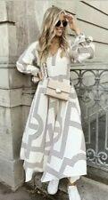 H&M Trend Cream Red Kaftan Patterned Print  Midi Maxi Dress 12 14 BNWT