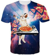 New Women Men Funny DJ Cat Pizza Print Casual 3D T-Shirt Short Sleeve Tops Tee