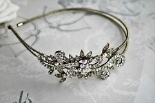 Bridal Bridesmaid Prom - Antique style Crystal Side Tiara headband