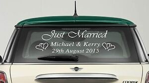 Just Married Wedding Day Car Window Sticker Personalised Sign