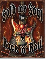 Rock N Roll Music Sold My Soul Garage Band Wall Decor Man Cave Metal Tin Sign