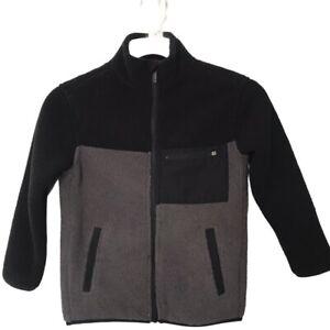 All In Motion NWT Boys' Cozy Fleece Full Zip Sherpa Sweatshirt Black/Gray XS 4/5