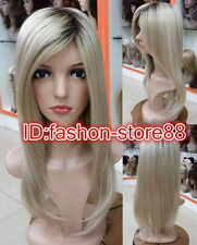 Ombre Wig 22 inches Honey Blonde with black root wig TOP quality hair wigs