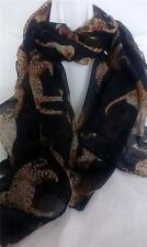 New 100% Cotton Scarf Black Leopards large Flowing Design Soft Warm Wrap