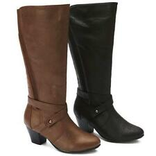 Women's Synthetic Leather Mid-Calf Cuban Boots