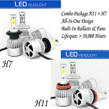 H7 + H11 Combo LED Headlight Kit High Low Beam 3000W 450000LM 6000K White Bulb