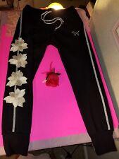 VICTORIA'S SECRET PINK BLACK SILVER STRIPE FLORAL SKINNY JOGGER SWEAT PANTS M