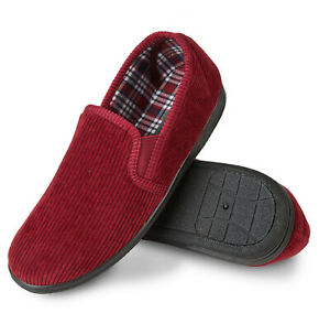Mens Comfy Burgundy Red Corduroy Slippers Non Slip sole  Size 7 8 9 10 11 12