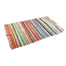 LARGE RAG RUG FAIR TRADE MULTI-COLOURED recycled cotton mat Indian 178 x 100cm