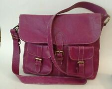 BODEN Large Fuschia Pink Leather Shoulder Bag Crossbody - Saddle Bag Purse EUC