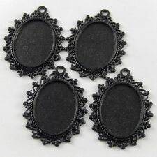 10pcs Black Color Alloy Lace Oval Cameo Setting Tray Charm Pendant Crafts 37816