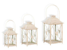 Lantern with Heart Set of 3 Garden Decoration Candle Tealight Holder Cream