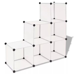 Plastic 6 Cube Shelves Bookcase Shoe Rack Storage Organiser Display Shelf Stand
