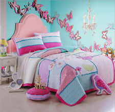 Reversible Quilted Cotton Patchwork Coverlet Bedspread 2pc Set Single MPK004