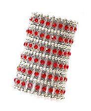 ED11 6 Row Wide Silver Red Austrian Crystal Beaded Stretch Statement Bracelet