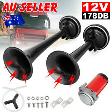 178DB Air Horn Dual Trumpet 12V Super-loud Horns For Truck RV Car Train Black
