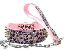 """2"""" Leather Spiked Studded Dog Collar Chain Leash set for Pit Bull Terrier, Boxer"""
