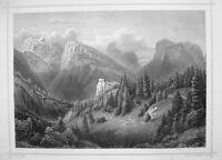 ITALY Castello di Botestagno & Mount Tofana - 1870s Original Engraving Print