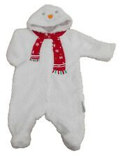 BNWT  Baby unisex Christmas snowman soft fleece all in one Clothes NB 0-3M 3-6