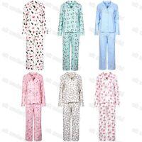 Ladies Winceyette Pyjamas 100% Cotton Womens Fleece Flannel Nightwear PJs Set