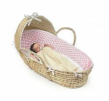 Badger Basket Natural Hooded Moses - Pink Chevron Bedding