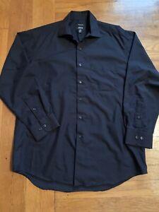 Alfani Performance Mens Dress Shirt Black Size Medium 15-15 1/2