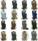Mens Waistcoat Waistcoats - Wool Blend Tweed  Vest Jacket Gilet Formal Casual